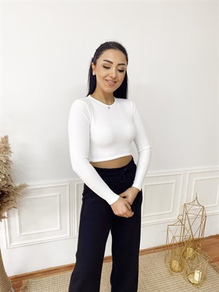 Triko Beyaz Crop Top